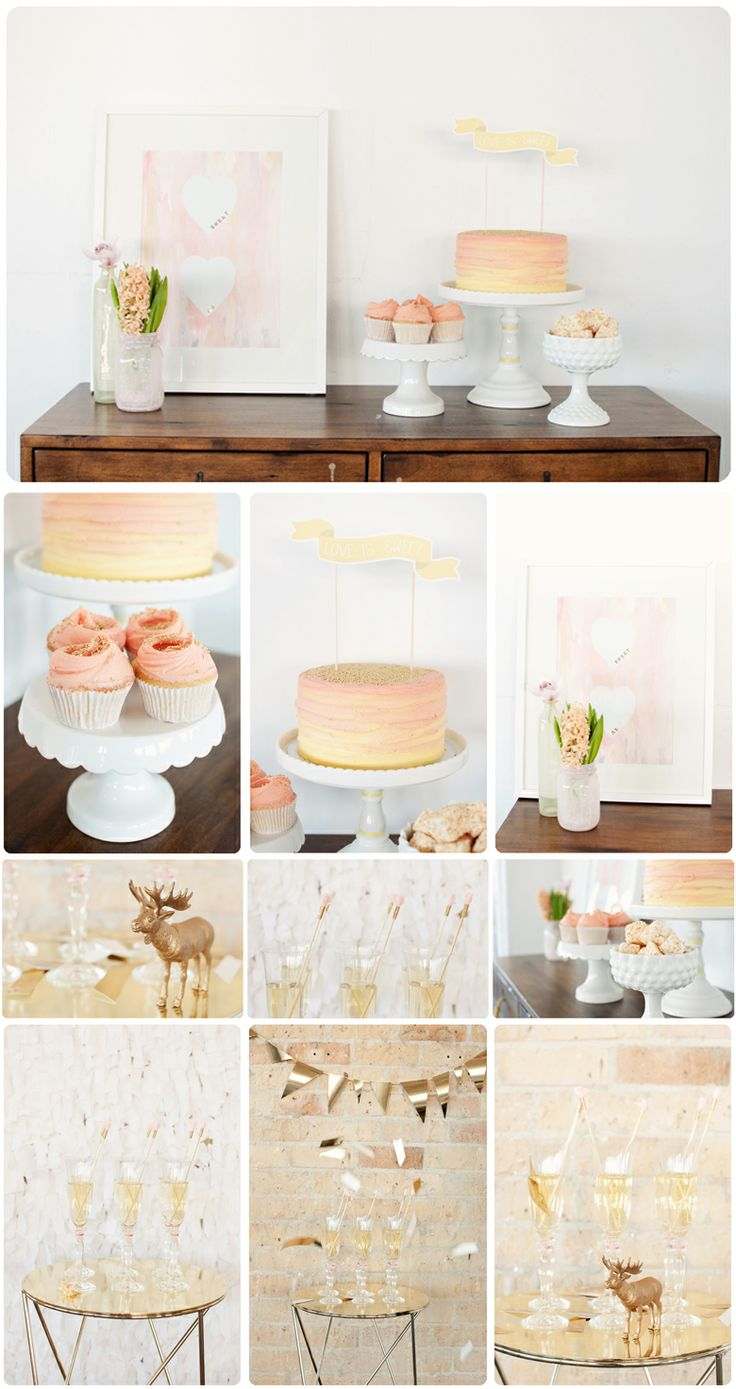 pastel ballet pink and gold dessert table with cupcakes and gold banner - lovely!