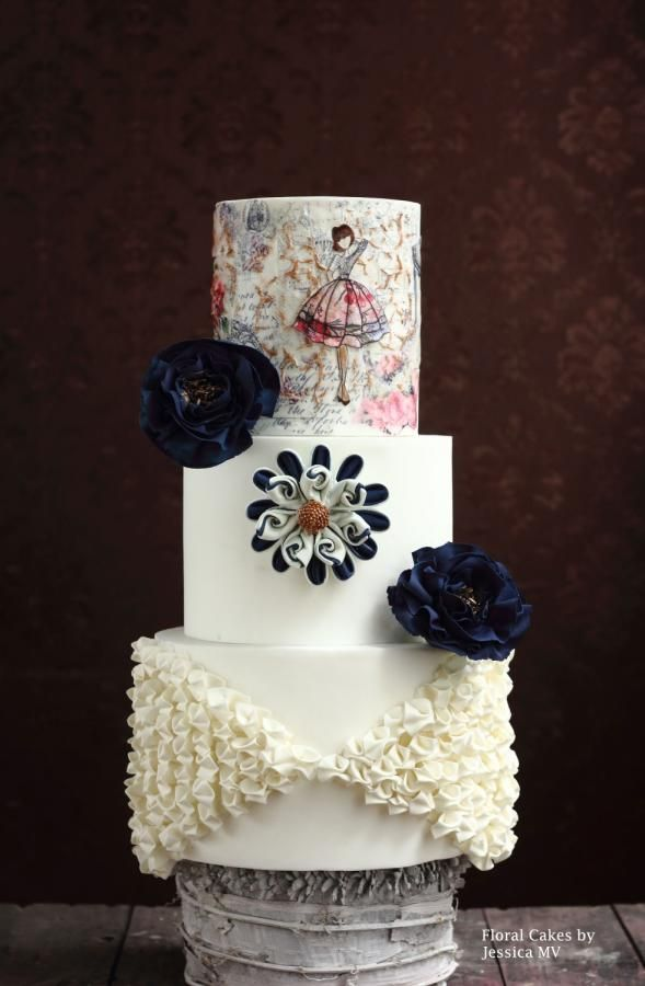 WHITE& NAVY BLUE WEDDING CAKE by Jessica MV - http://cakesdecor.com/cakes/252389-white-navy-blue-wedding-cake