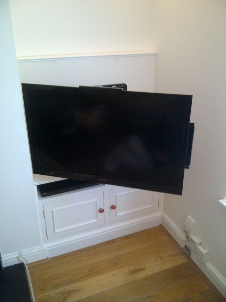 TV on bracket in alcove
