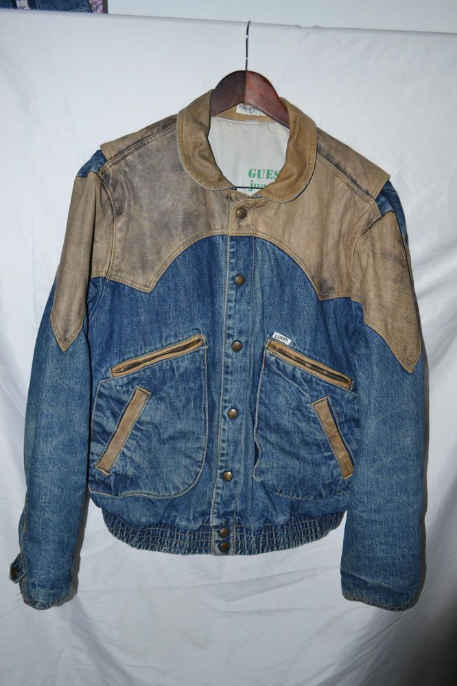 Rare True Vintage Georges Marciano Guess Denim Jean Leather Jacket
