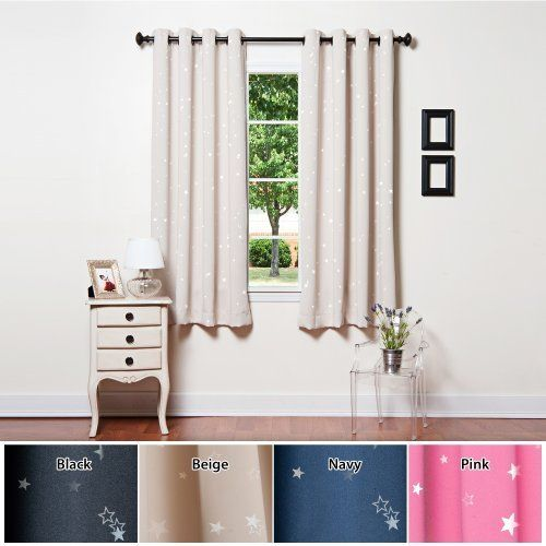 Grommet star print thermal insulated blackout curtain set for Star material for curtains
