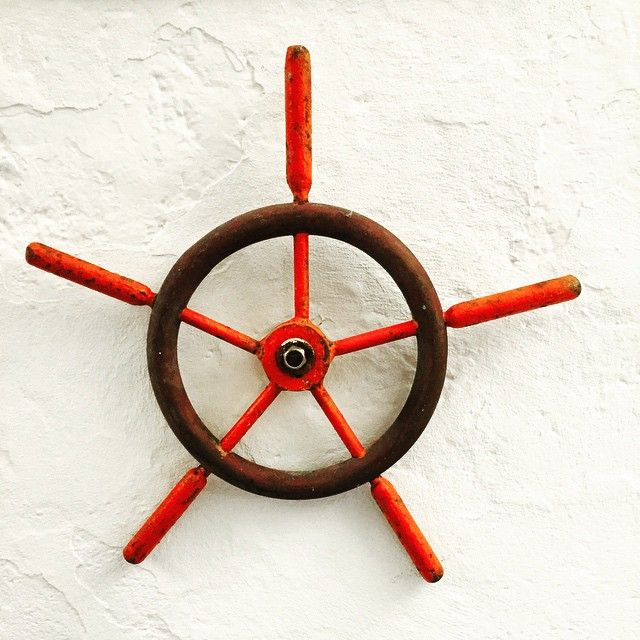 #vintage #boat steering wheel spotted on a wall at the amazing Emilia restaurant #portonovo #design #travelphotography #Italy