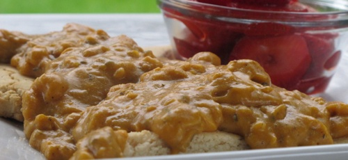 Chickpea Gravy with Coconut Biscuits. Gluten-free, vegan and delicious! From http://gazingin.com/