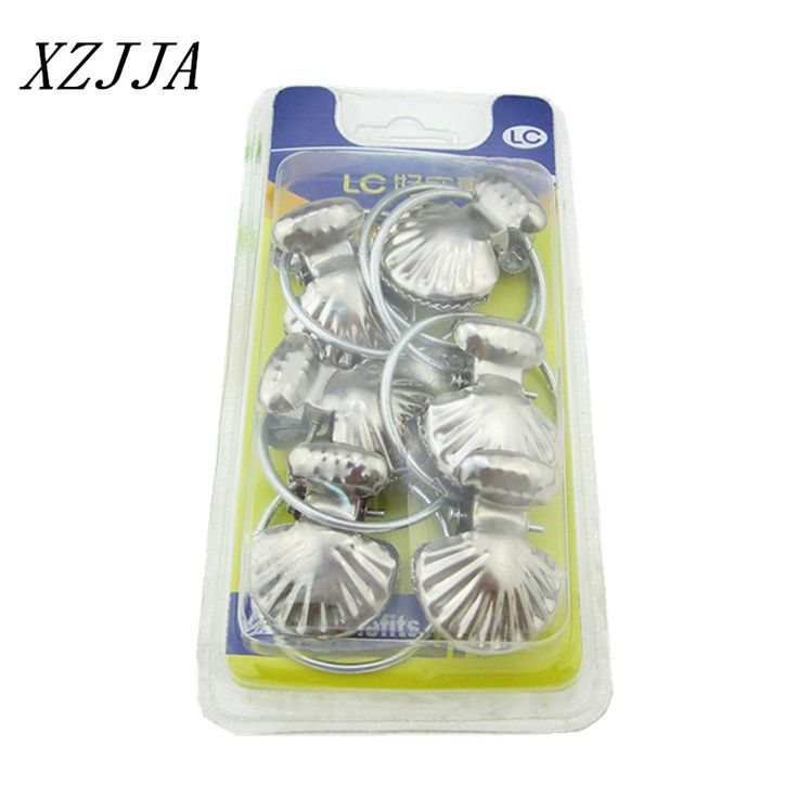 6pcs/pack Stainless Steel Curtain Hook Clips Window Shower Curtain Rings Clamps Drapery Clips Curtain Accessories  Shell Shape