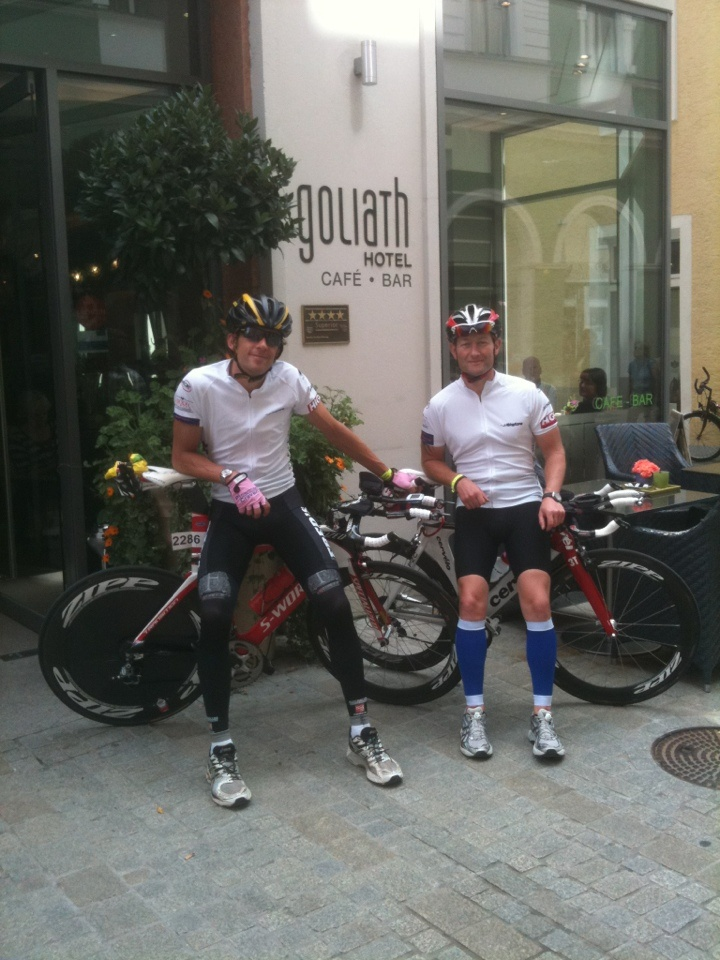 Chris Wood and Me outside our hotel in Regensburg, Germany. #ironmanregensburg2011