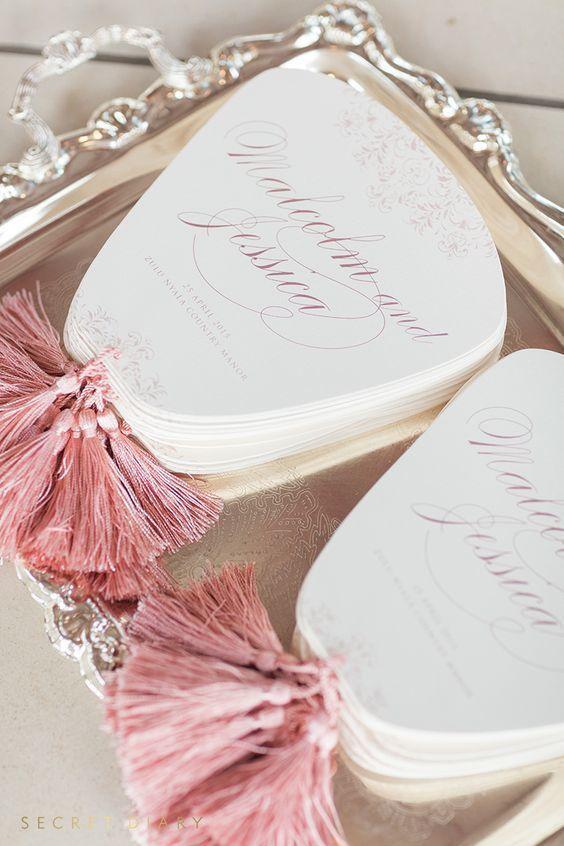 Tassel luxury elegant wedding ceremony program fan
