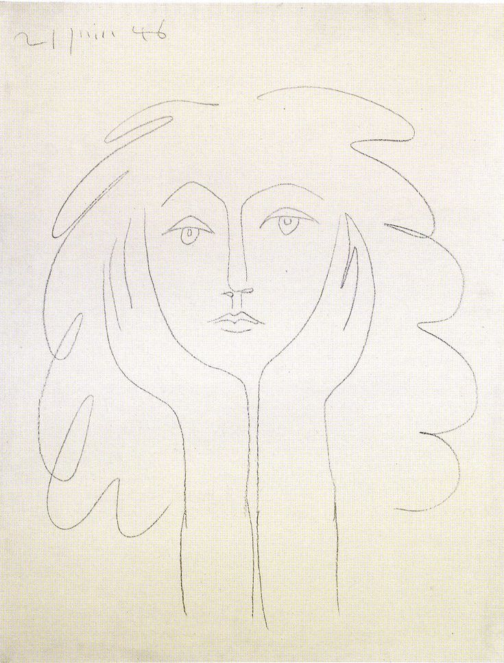 Another Picasso line drawing, a portrait of painter, Francoise Gilot, now 90; shown @ The Gagosian Gallery, NYC, recently @ exhibit of her work and her Picassos. (See source link for more.)