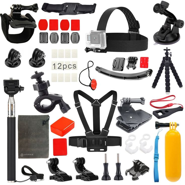 23-1 Value Pack Accessories Kit for Gopro Hero 4 Session Black/Silver Hero+ LCD 3+ 3 2, Sj4000 Sj5000,Head Strap/Chest