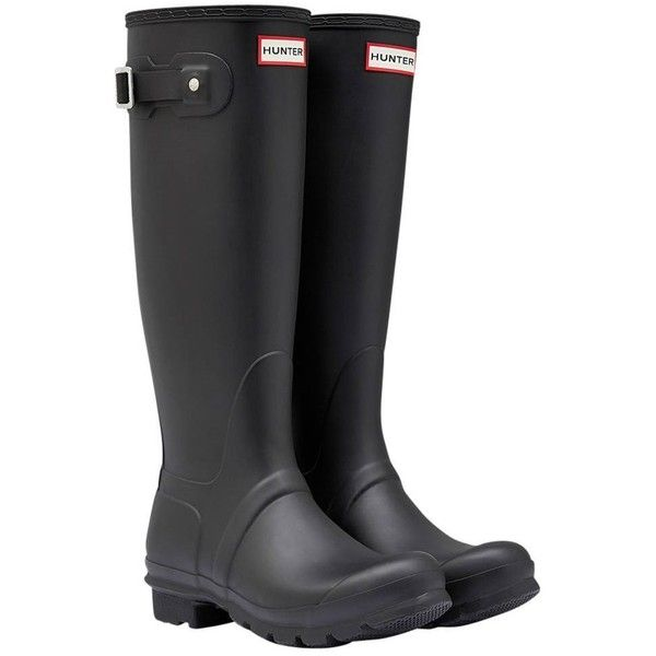 Women's Hunter Original Tall Wellington Boots ($98) ❤ liked on Polyvore featuring shoes, boots, waterproof rubber boots, tall boots, tall knee high boots, rubber boots and short rubber boots