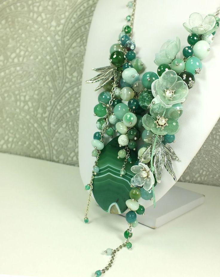Купить Мятно - Морской Этюд. Колье из натуральных камней, цветы из ткани - морская волна, зеленый