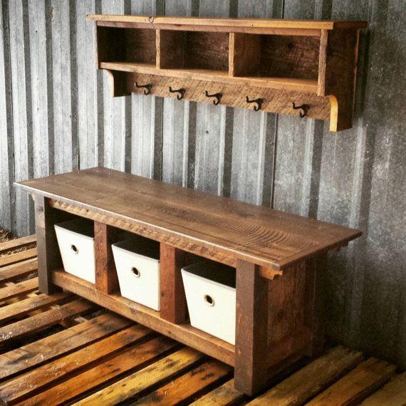 Custom Reclaimed Barnwood Three Cubby Bench & by EchoPeakDesign
