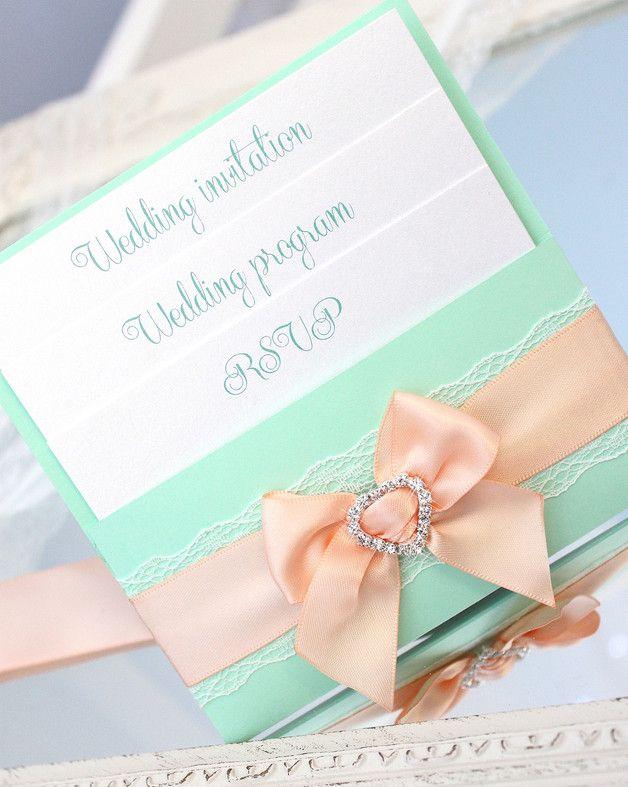 hochzeitseinladung hochzeit einladung zur hochzeit hochzeitskarte einladungskarte hochzeits einladung handgefertigt einladungen grün pfirsich weiß minze einladungs pfefferminze elegant luksus mint peach