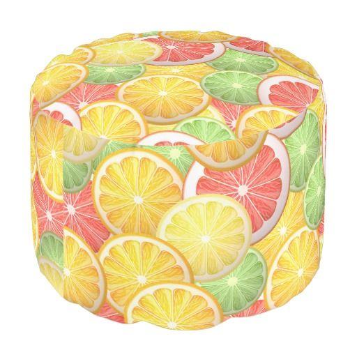 Citrus pattern - grapefruit, lemon, lime, orange round pouf