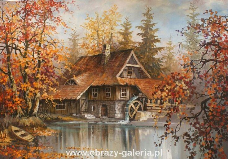 Stanisław Wilk maluje pejzaże. Jego ulubiony motyw to staropolskie dworki i młyny wodne.  Wymiary: 100x70  Technika: olej na płótnie