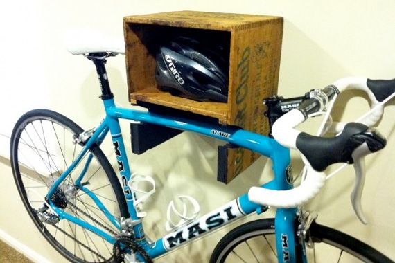 How innovative is this?! Repurpose an old crate to create a bike rack and helmet cubby