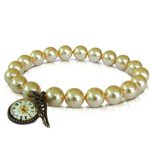 SWAROVSKI GOLD PEARL BRACELET WITH SMALL RESIN CABOCHON AND ANGEL WING CHARM