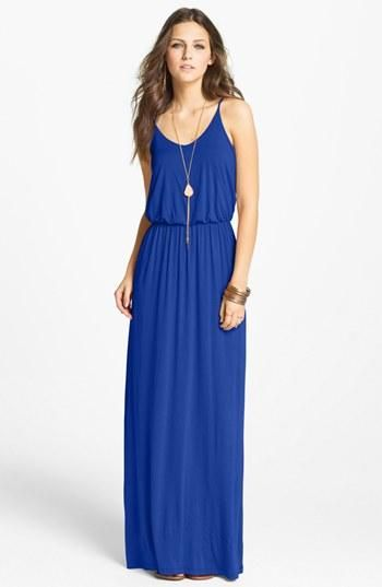 Push it to the maxi. Blue knit maxi dress.