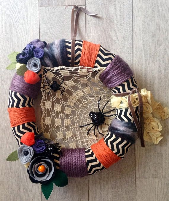 Modern Halloween Wreath Halloween Yarn Wreath by Lizzyandlois