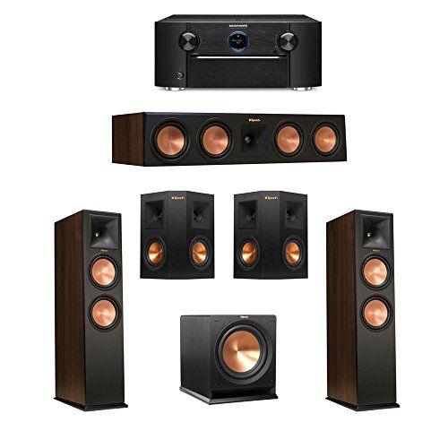 "Klipsch 5.1 Walnut System with 2 RP-280F Tower Speakers, 1 RP-450C Center Speaker, 2 Klipsch RP-240S Ebony Surround Speakers, 1 Klipsch R-112SW Subwoofer, 1 Marantz SR7011 A/V Receiver You will receive: 2 Klipsch RP-280F Tower Speakers + 1 Klipsch RP-450C Center Speaker + 2 Klipsch RP-240S Surround Speaker + 1 Klipsch R-112SW Subwoofer + 1 Marantz SR7011 A/V Receiver All New Tractrix Port 1"" Linear Travel Suspension Titanium Tweeter https://technology.boutiquecloset.com/produ"