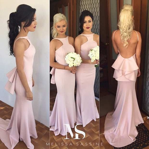 Light Pink, Backless Dresses for Bridesmaids
