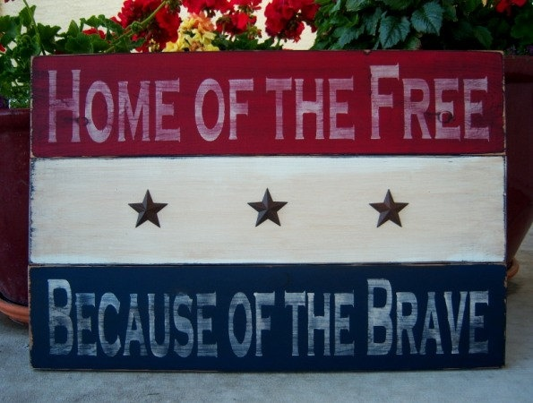 Home Of The Free, Because Of The Brave Large Distressed Patriotic Hand Painted Wood Sign, Fourth of July, Military. $78.00, via Etsy.