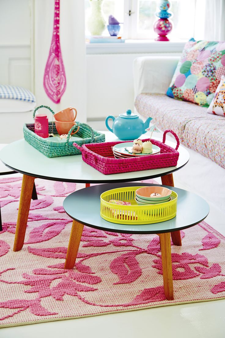 Happy Home - RICE AW13....the rug is awesome!!!  and love the bright pops with all white floor, walls,......