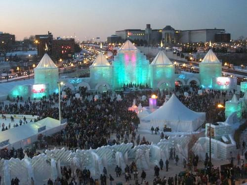 St Paul Winter Carnival. This is how we handle the weather. Yes, all of that is sculpted out of ice.