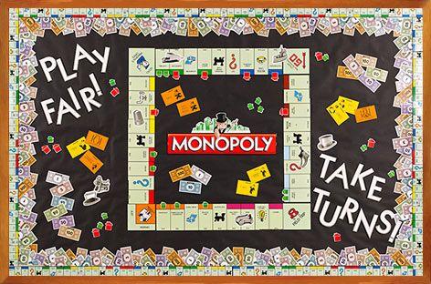 #Monopoly Bulletin Board. #ClassroomDecorations #BulletinBoard