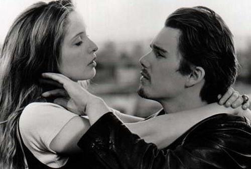 "Ethan Hawke & Julie Delpy en ""Antes del amanecer"""