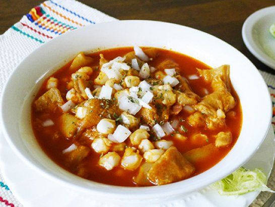 Mexican Menudo 1 1/2 gallons water 3 lbs lean beef tripe, cut into pieces 1 can (14.5 ounces) cooked hominy or cacahuazintle corn 1/2 onion 1 bay leaf 15 New Mexico dried red chili peppers 6 garlic cloves 1/2 teaspoon cumin 1/2 teaspoon pepper 1/2 teaspoon oregano Salt to taste