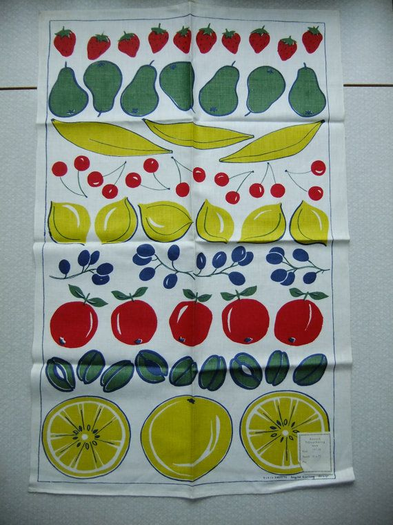 Vintage Swedish 1960s unused printed Tea towel Tutti Frutti / Ingrid Carling design