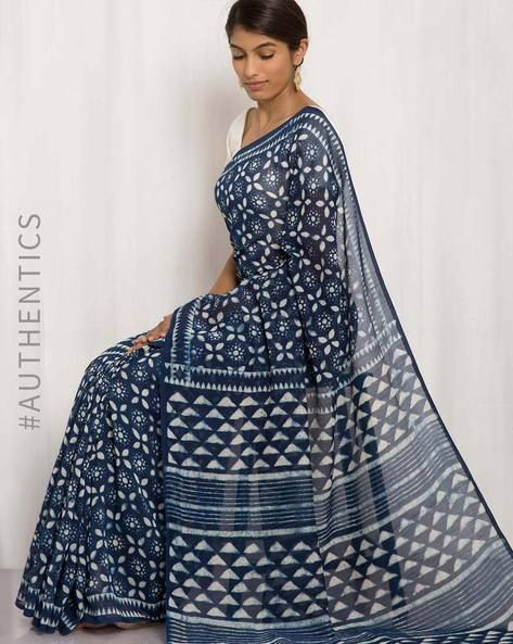 Buy Navy Blue Indie Picks Hand Block Print Chanderi Saree | AJIO