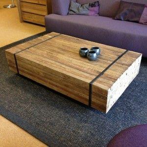 Reng. Teak salontafel gemaakt van allemaal planken teakhout bij elkaar, gebundeld door middel van een metalen band.   http://www.winjewanje.nl/salontafel-reng