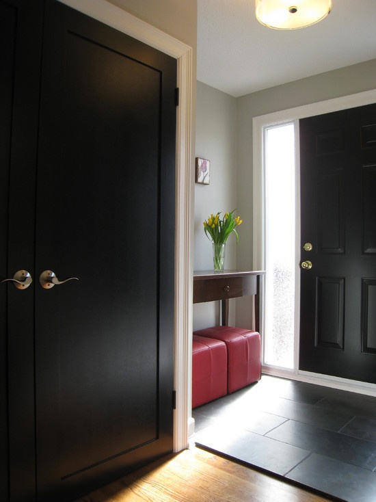 Gray wall is Paper Clip by C2, Black interior doors: The Doors, Doors Design, Black Doors, Dark Doors, Black Interiors Doors, White Trim, Front Doors, Panels Doors, Front Entry