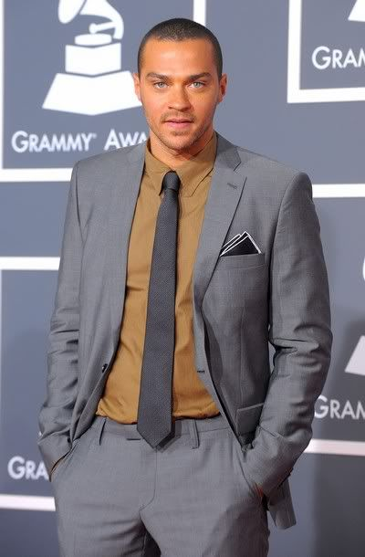 Grey in Grey! Grey's Anatomy actor, Jesse Williams in grey suit with light brown shirt and grey tie.