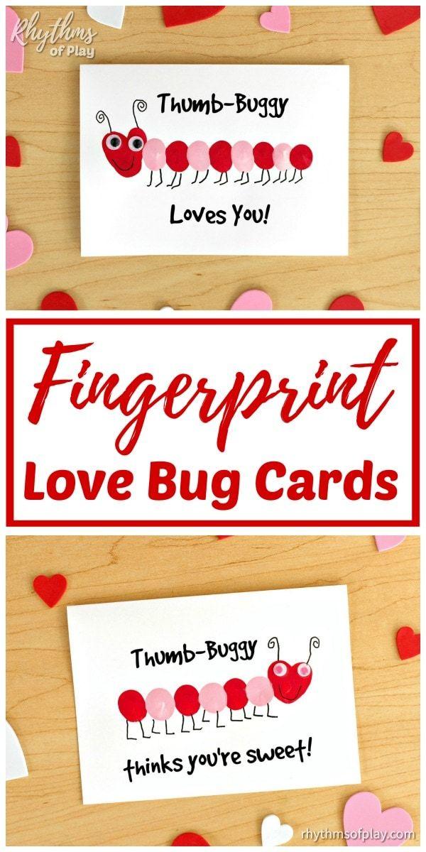 fingerprint love bug cards  homemade valentines day cards