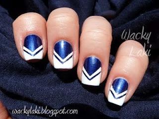 Cheerleader nails tutorial by Wacky Laki