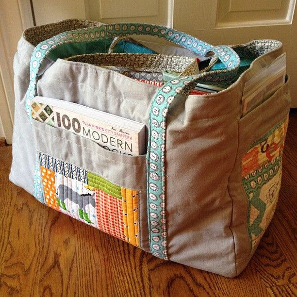 """awesome sewing tote from Sarah (Arbonnegirl) Pattern is the """"Sewing Circle Tote"""" by Elizabeth Hartman of Oh, Fransson! http://www.ohfransson.bigcartel.com/product/sewing-circle-tote-pdf-sewing-pattern"""