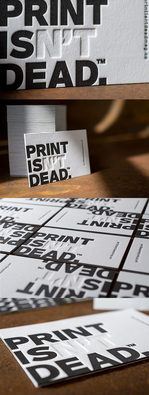 Business cards for people of print. Triplex paper stock with a blind emboss, designed by www.jennieclarkde
