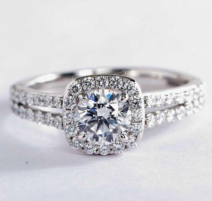 Split Shank Halo Diamond Engagement Ring | Blue Nile