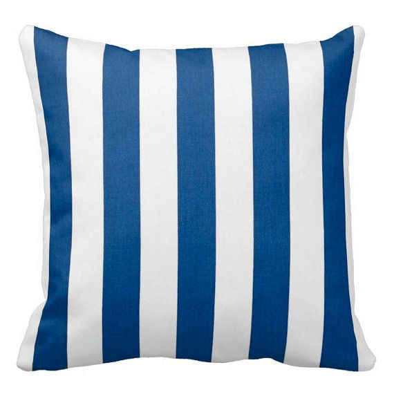Cobalt Blue and White Zippered Throw Pillow Cover by Primal Vogue - Various Sizes 14x14 16x16 ...
