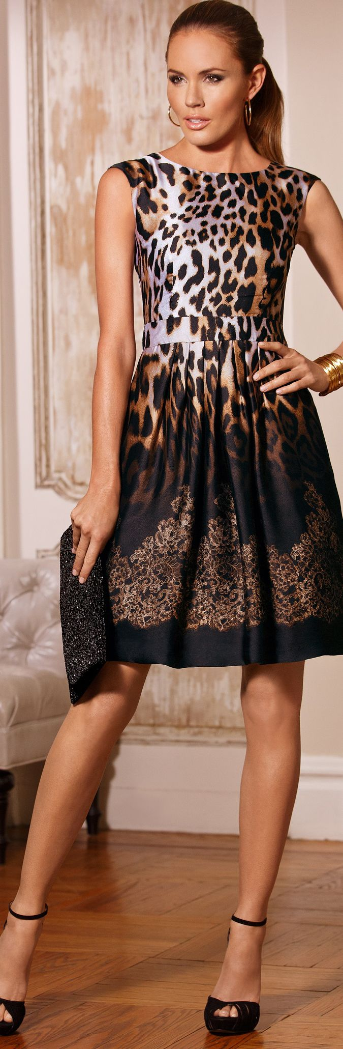 Animal Lace Ombre Party Dress