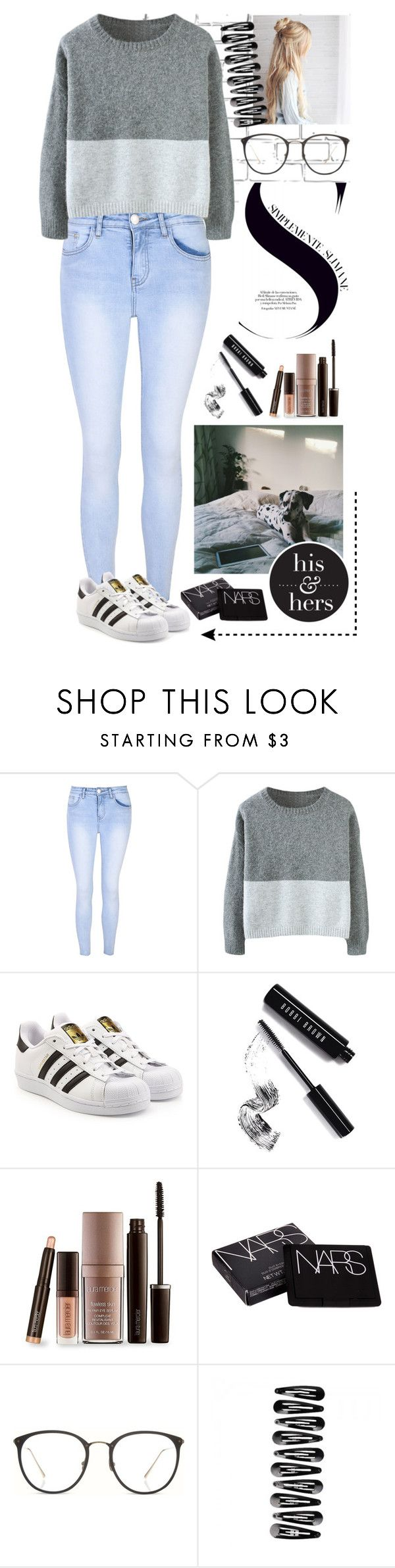 """Sweater Weather :)"" by rhiannonpsayer on Polyvore featuring WALL, Glamorous, adidas Originals, Bobbi Brown Cosmetics, Laura Mercier, NARS Cosmetics and Linda Farrow"