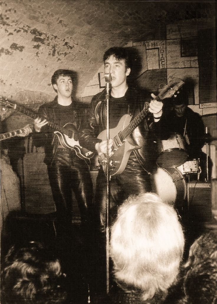 The Beatles at the Cavern Club, Liverpool. Pete Best is on drums.....