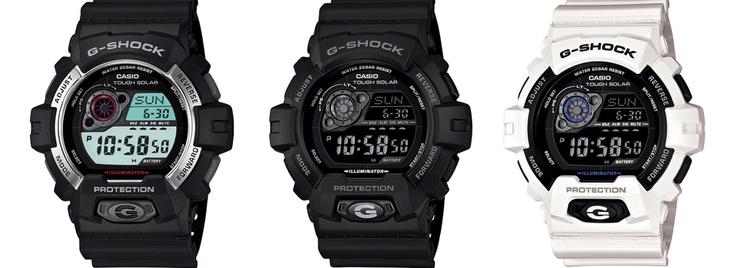 18.10.2012  Con estos relojes tendrás la hora por mucho tiempo ya que se alimenta de la luz solar y gracias a eso lo que consigue G-Shock es cuidar un poquito más el medio ambiente. El GR-8900-1ER, el GR-8900A-1ER todo en negro y el GR-8900A-7ER en blanco. Cuando lo tengas contigo prueba la luz que lleva, vas a alucinar!