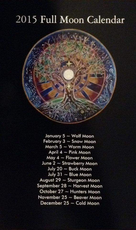 2015 Full Moon Calendar tree of life Mandala by SoulArteEclectica
