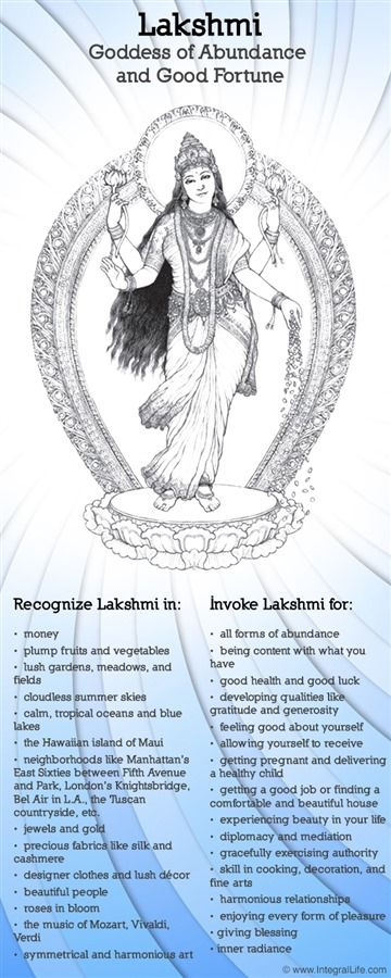 Lakshmi the goddess of wealth, beauty and good fortune. She is a consort the to god Vishnu.