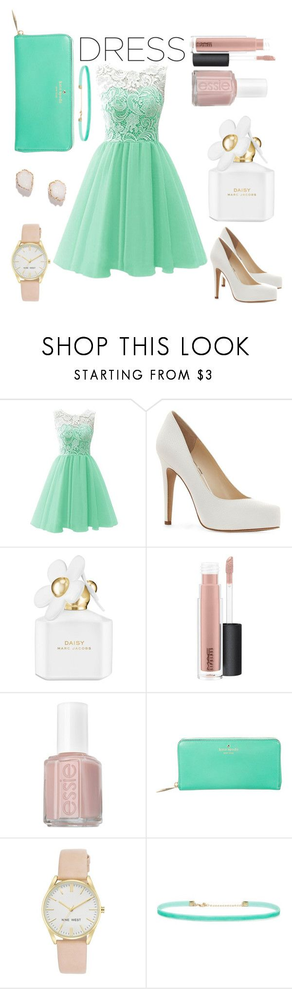 """""""DreamDress♡"""" by annadeiman ❤ liked on Polyvore featuring Jessica Simpson, Marc Jacobs, MAC Cosmetics, Essie, Kate Spade, Nine West, Forever 21 and Kendra Scott"""