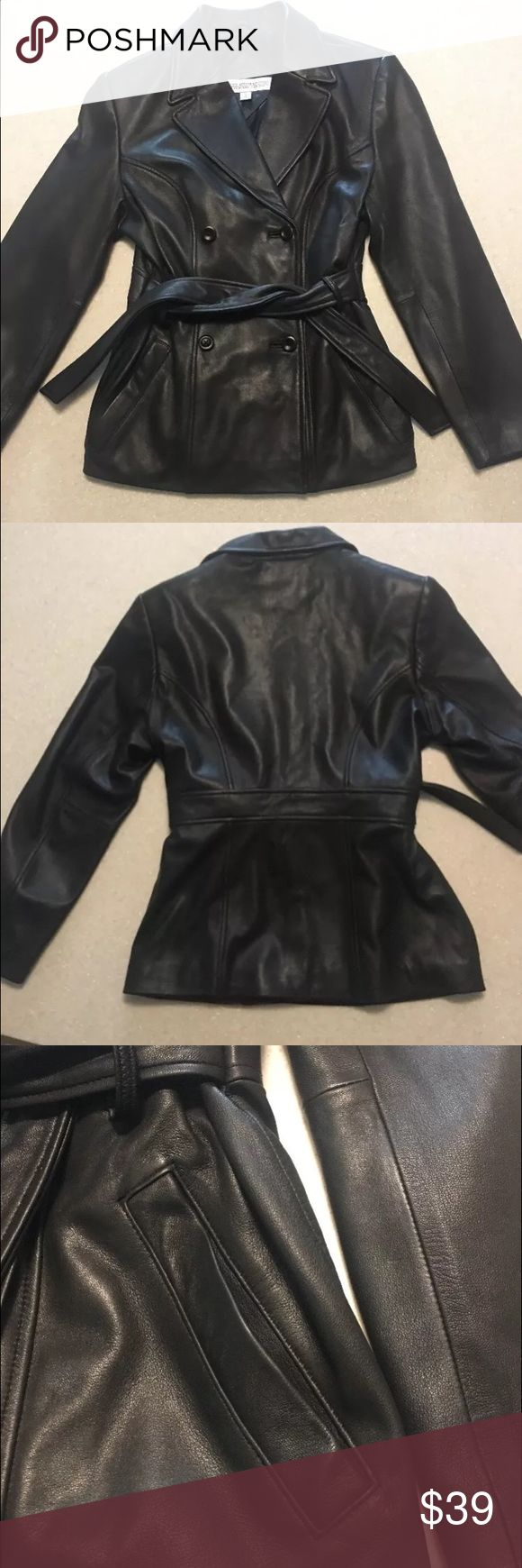 """Valerie Stevens NewZealand Lambskin Leather Jacket This jacket is made by Valerie Stevens.  It is made of New Zealand Lambskin.  It is a very soft leather jacket, and is in excellent condition.  It has 4 buttons (2 rows of 2) and a leather belt.  The buttons are a little loose.  The tag says Small but it runs big and fits like a medium.   Shoulder 16 1/2"""" Waist (measured at belt loop) 17"""" Coat length 25"""" Shoulder 17"""" Sleeve length (from center of collar to end of sleeve) 30"""" Chest-39""""…"""