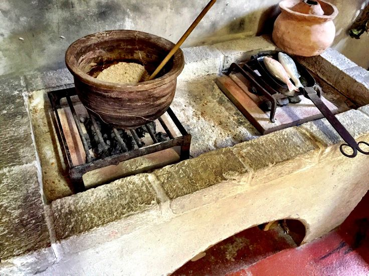 Hearth of the replica Roman kitchen in the Murray Room at Fishbourne Roman Palace. June 2015.